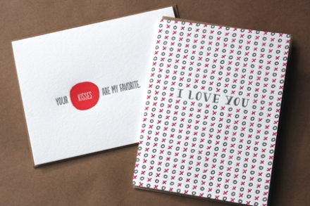 Letterpressed cards by Ink Meets Paper (left) and Bison (right), $5.25 each.